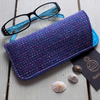 Harris Tweed eyeglasses case in blue, magenta and white pinstripe