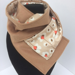 Cashmere & wool ladies pansie print lined scarf
