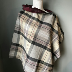 Wool check design woven fully lined shawl