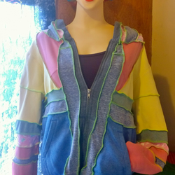 Upcycled Clothing.Jacket.Sweater.Hoody.Festival Clothing.Funky.Womens clothing