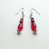 red glass bead and ceramic earrings