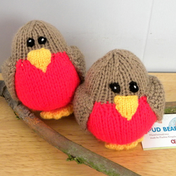 Hand Knitted Robin - CE Marked Toy - Gift for Baby - Christmas Robin