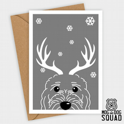Cockapoo dog reindeer christmas card