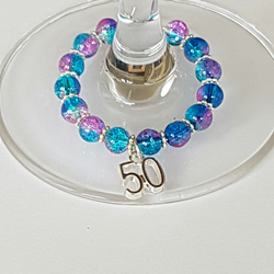 50th Wine Glass Charm Favours