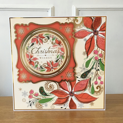 Poinsettia Christmas Card - Large Card 8 inches x 8 inches