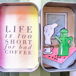 Miniature work of art - coffee lovers watercolour in a tin