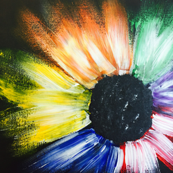 Original acrylic abstract flower painting
