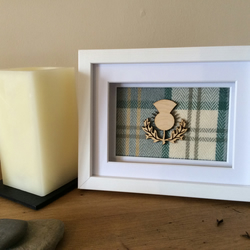 Modern tartan, Thistle box frame art