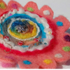 Recycled Blanket Brooch Flower Bead