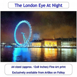 The London Eye At Night - Quality Fine Art print