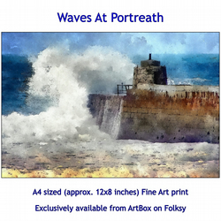 Waves At Portreath, Cornwall  - Quality Fine Art Print