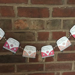 VW Style Camper Van Bunting 6 individual cardstock vans attached to ribbon 60""
