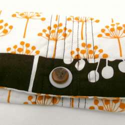 Gold, Brown and White, Handmade Snap Pouch : Snap Wallet : Tissue Pouch