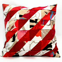 "Red and Beige Stripe Design 12"" Handmade Patchwork Cushion Cover"