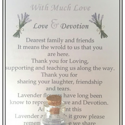 Unique Organic Lavender Seed Glass Bottle Wedding Favour, Message in a bottle