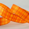 2 metres lurex orange plaid tartan ribbon 25mm wide