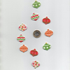 ChrissieCraft pack of 10 assorted colourful wooden CHRISTMAS BAUBLE craft button
