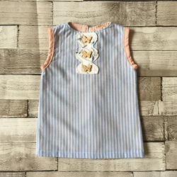 Homemade babies girls baby blue and white stripe dress with pink trim