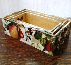 Shabby chic trinket box set, wooden, storage, heart handles, fruit and flowers
