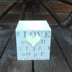 Shabby chic pencil pot, wooden box, writing, heart