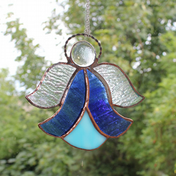 Stained Glass Bluebell Angel Suncatcher Blue