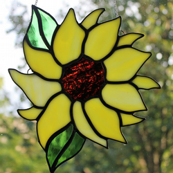 Stained Glass Sunflower Suncatcher Large