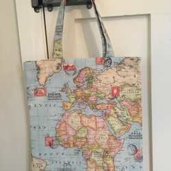 World map fabric bag