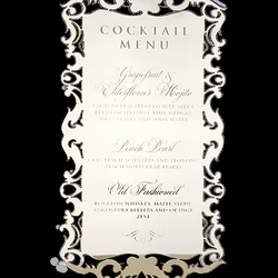 Gold Framed Menu Acrylic