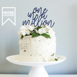 One In A Million Wooden Cake Topper, Script Cake Topper, Cake Toppers,