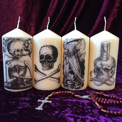 Four Gothic Death Macabre Memento Mori Scented Candles
