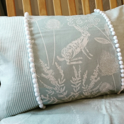 Hares and Stripes cushion cover
