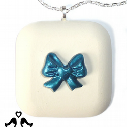 Square pendant, cream pendant, blue, blue bow, handmade, women's necklaces