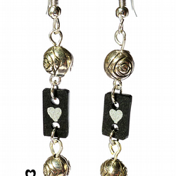 Black and silver drop earrings with tiny silver hearts and silver metal beads
