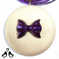 Cream pendant, round pendant, purple ribbon, handmade, women's necklaces.