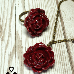 Red rose necklace and red rose ring, modern jewellery, gift for her, handmade