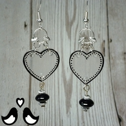 Black heart dangle earrings, drop earrings, black earrings, handmade, glass bead