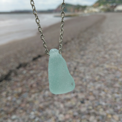 Frosted blue sea glass necklace