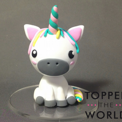 Cute Polymer Clay Unicorn Cake Topper