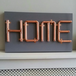 Copper pipe HOME sign, wall art
