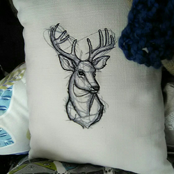 Handmade embroidered Stag cushion
