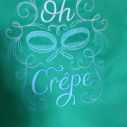 Handmade embroidered oh crepe apron