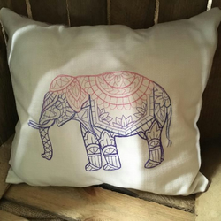 Handmade embroidered elephant cushion