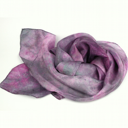 Hand Dyed Silk Scarf - Pink, Grey, Silver, Magenta, Mauve