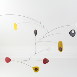 Modern Mid Century Retro Mobile, Calder Style, Black White Yellow Red