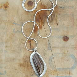 Fossilized Wood Pendant, sterling silver, bezel, fossil