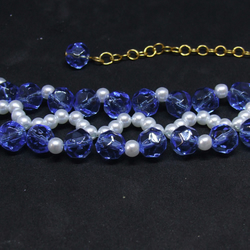 FREE UK P&P Blue Glass Crystal White Pearl Cuff Bracelet with Extension Chain.