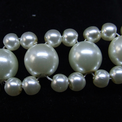 FREE UK P&P - Cuff Bracelet in Ivory Glass Pearls D5