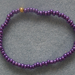 FREE UK P&P Handcrafted Glass Seed Beads Elastic Anklet Metallic Purple