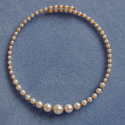 FREE UK P&P Handcrafted Graduated Necklace in Top Quality Ivory Glass Pearls