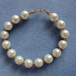 FREE UK P&P Bracelet Quality Glass Pearls Ivory Gold Bead Chunky Vintage Style